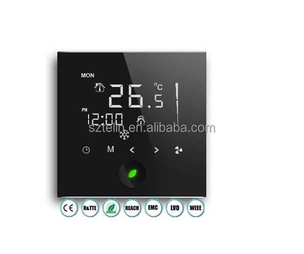 Smart weekly programmable LCD room thermostat for heating and cooling HVAC system