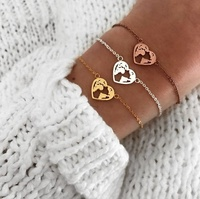 Jietao 2019 Stainless steel Travel Bracelet Jewelry Women Heart Shaped World Map Bracelet Heart Earth Bracelet