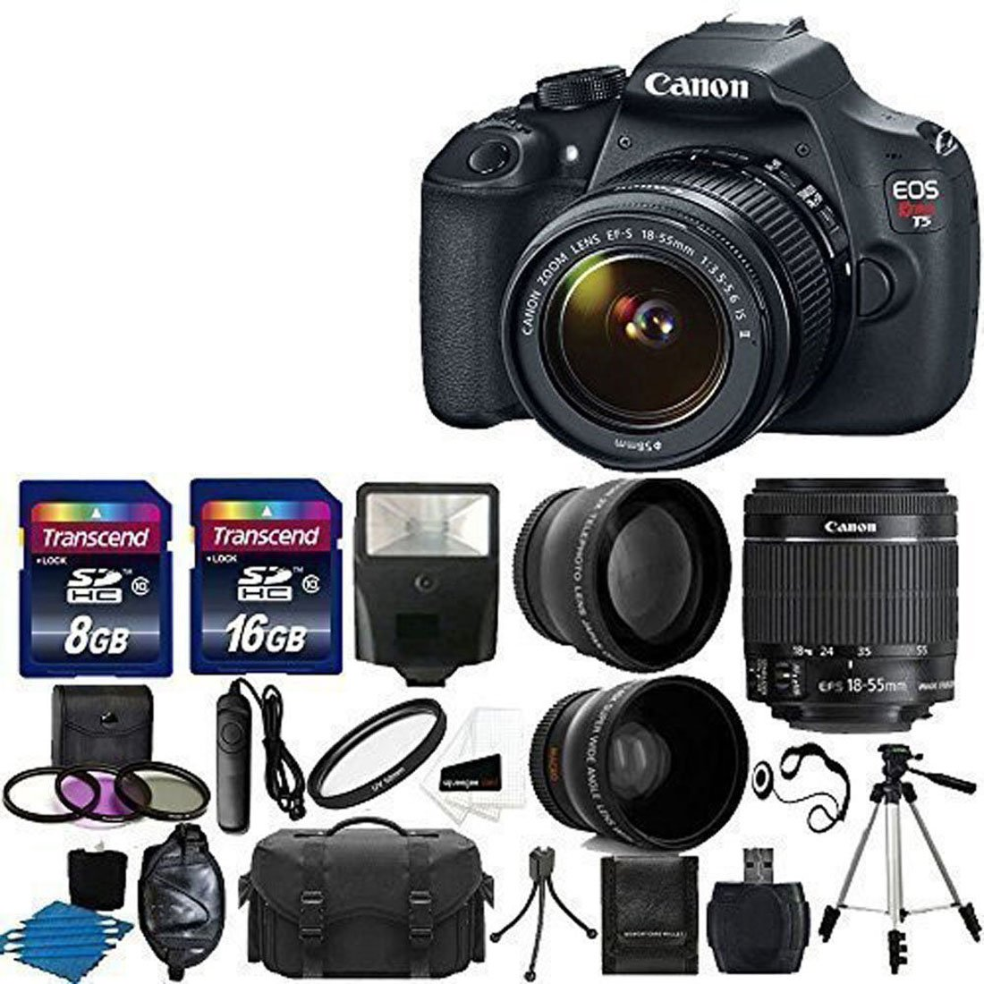 Canon EOS Rebel T5 DSLR Digital Camera & EF-S 18-55mm f/3.5-5.6 IS Lens + 2x telephoto Lens + 58mm Wide Angle Lens + Flash + 59-Inch Tripod + UV Filter Kit + 24GB SDHC card + Accessory Bundle