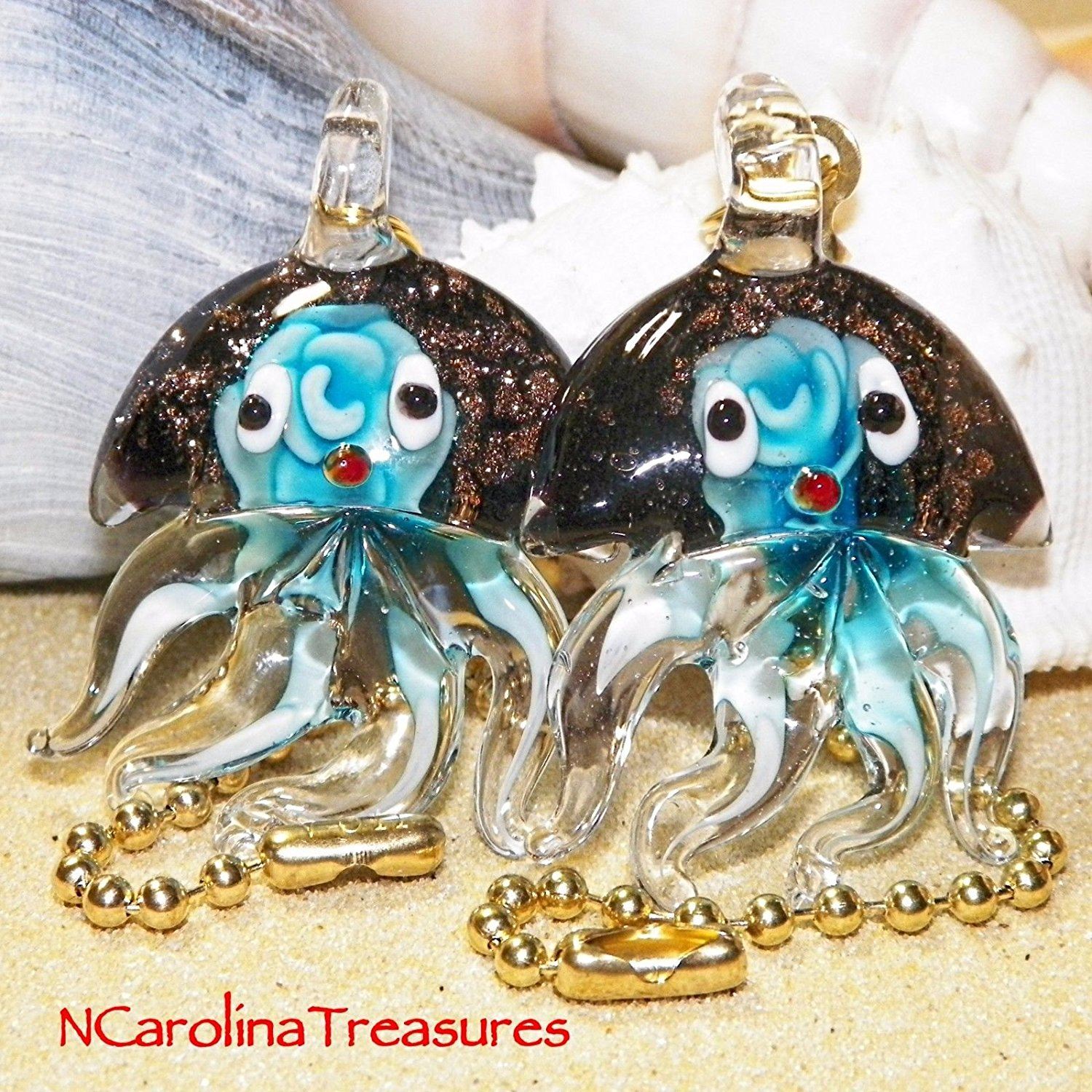 (USA Warehouse) AQUA FLORAL JELLYFISH GLITTER GLASS CEILING FAN LIGHT SWITCH PULL LG PAIR J123 -/PT# HF983-1754418433