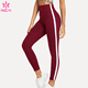 High Rise Fitness Leggings Striped Tape Side Gym Tights Custom Moisture Wicking Women Yoga Pants