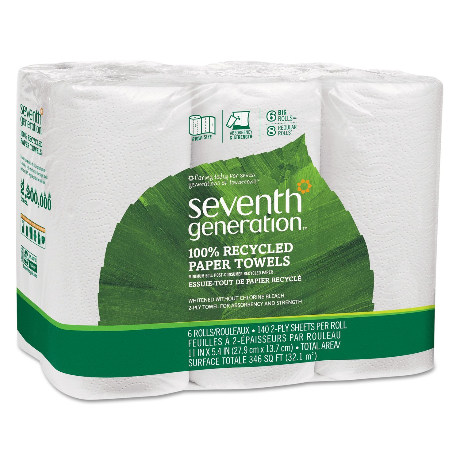 Seventh Generation 13731CT 100% Recycled Paper Towel Rolls, 2-Ply, 11 x 5.4 Sheets, 140 Sheets Per Roll, 4 Packs of 6 Rolls (Case of 24)