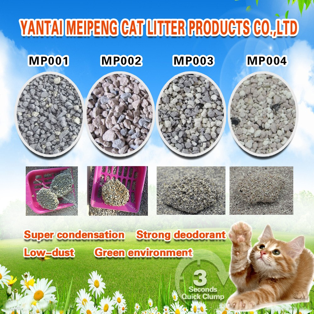 Clumping bentonite cat litter with 99.9 dust free