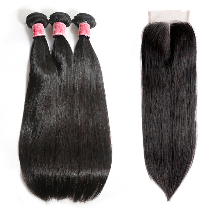 JP Limited Brazilian Straight Hair With Closure 3 Bundles Unprocessed Virgin Human Hair Bundles With Lace Closure фото