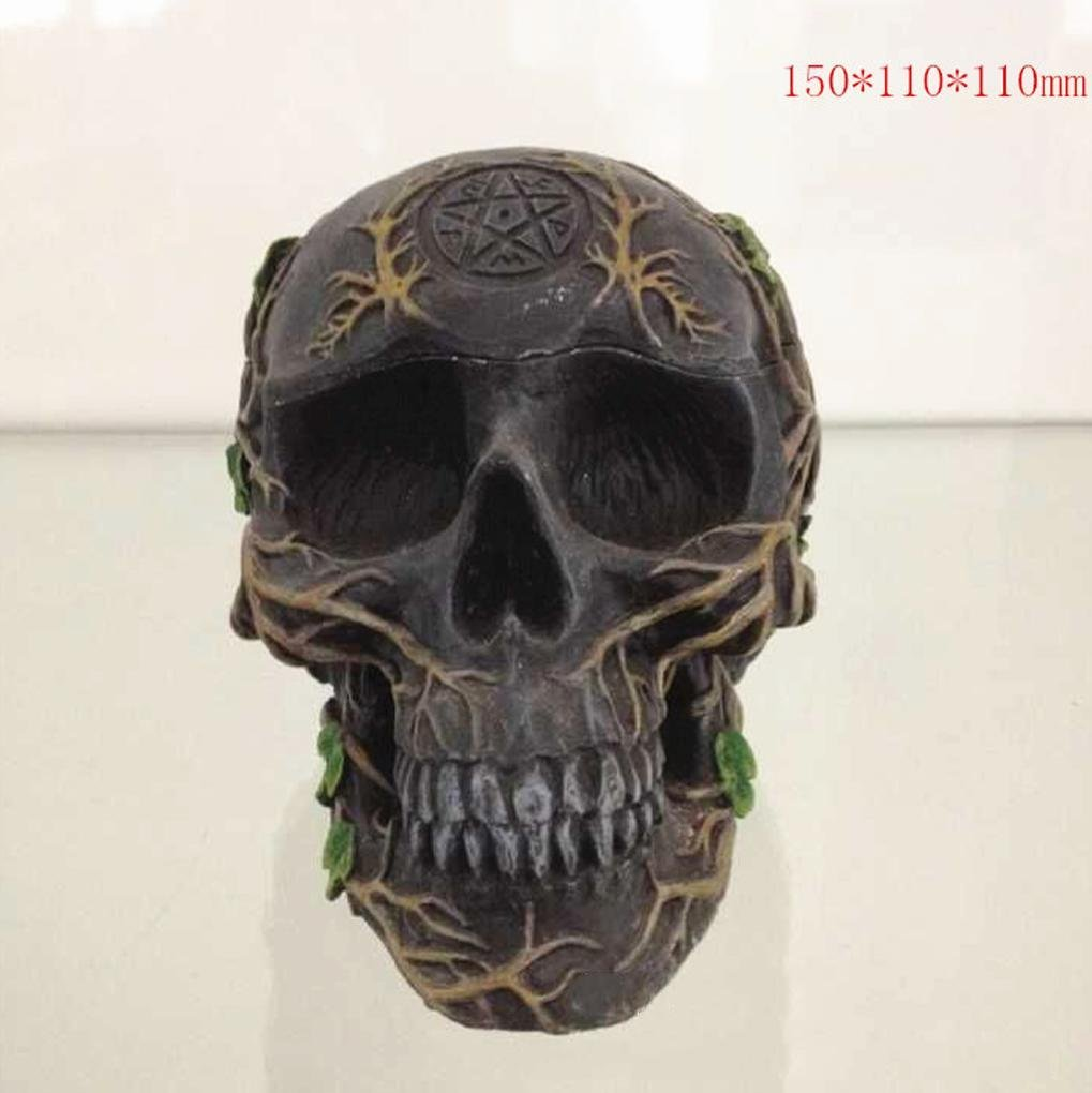W&P Carved Halloween costume props painted resin skull art ornaments