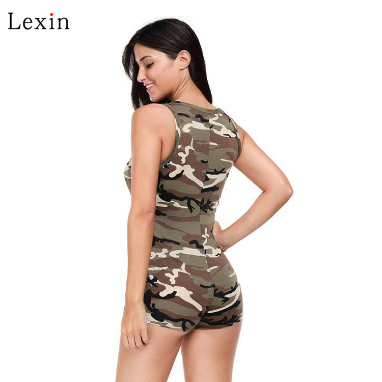 Summer Sleeveless Camouflage zipper rompers for women
