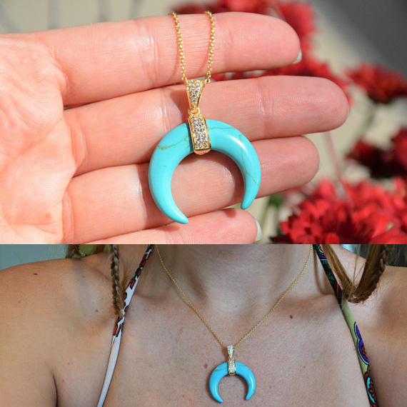 crescent moon gold plated top quality geomstone turquoise moon gold necklace