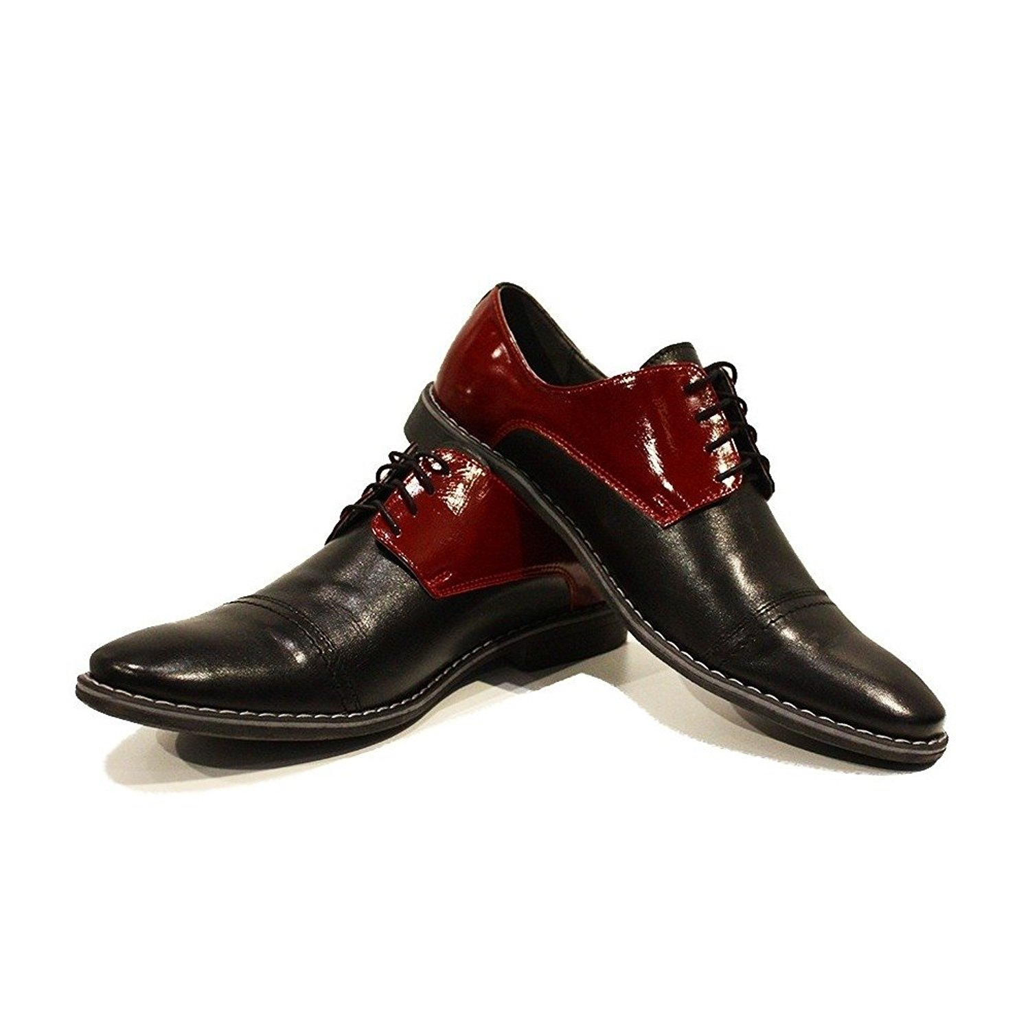 Modello Albino - Handmade Italian Mens Burgundy Oxfords Dress Shoes - Cowhide Smooth Leather - Lace-up