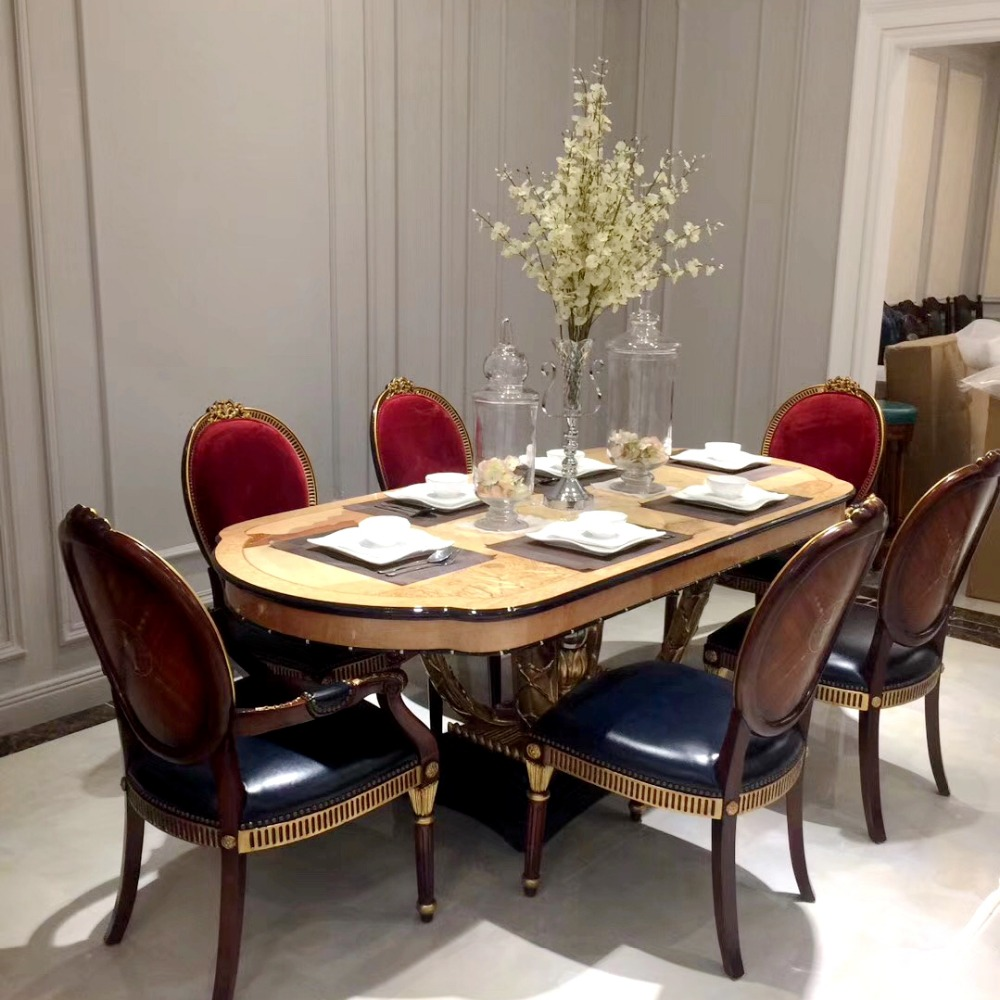 Luxury Solid Wood Round Dining Table With Rotating Centre