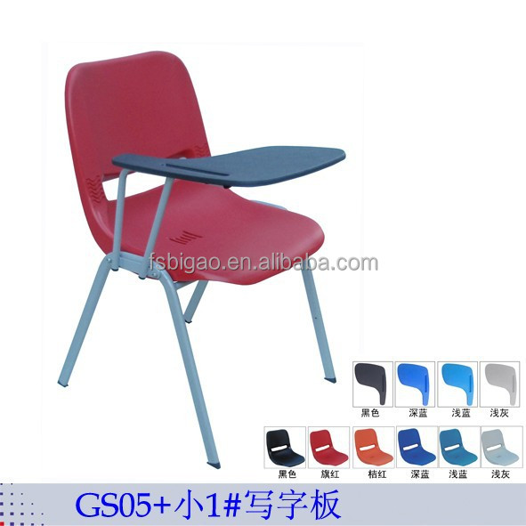 colorful school training plastic chair with writing pad and book net