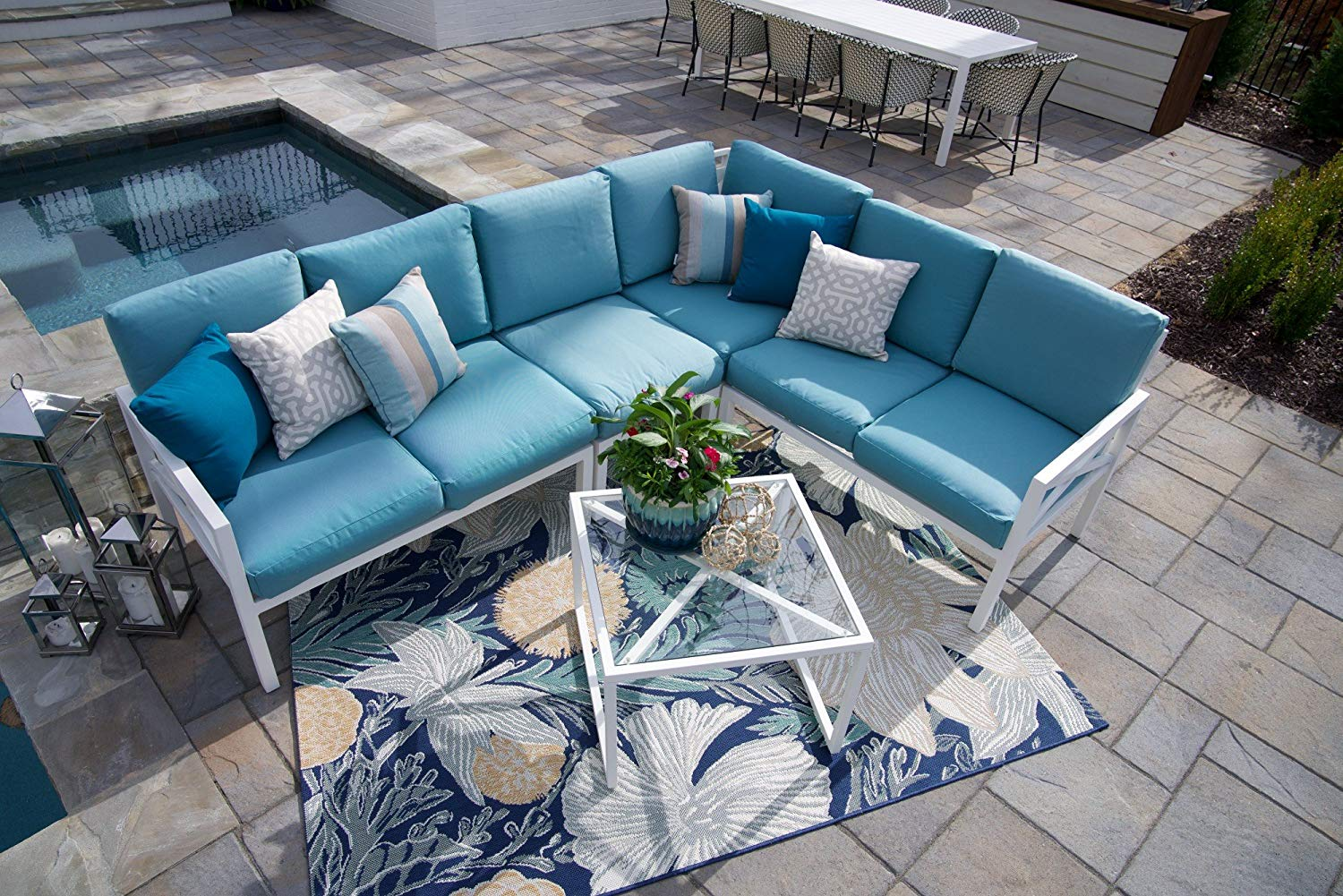 acc20d0ebec Get Quotations · Leisure Made Blakely 5 Piece White Outdoor Sectional