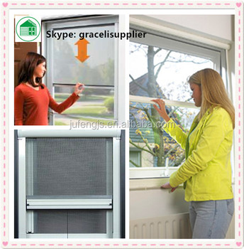 Roll up mosquito insect fly screen window with rohs for Roll up insect screens for windows