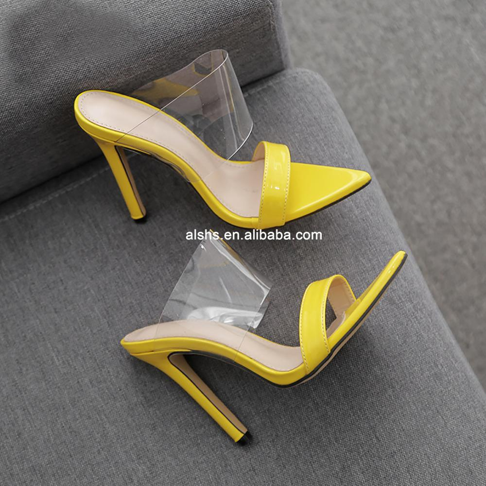 Chengdu Shoes New design Pu high heel Pvc Clear <strong>sandals</strong>