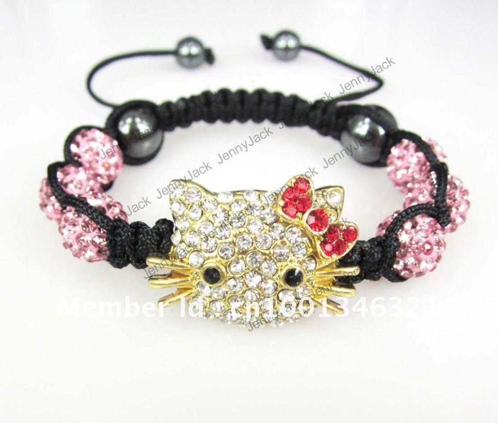 8e79c419230162 Get Quotations · Christmas Gift New Hello Kitty Cat Shamballa Bracelet   Bangle  Crystal Disco Ball Cat Shamballa Jewelry
