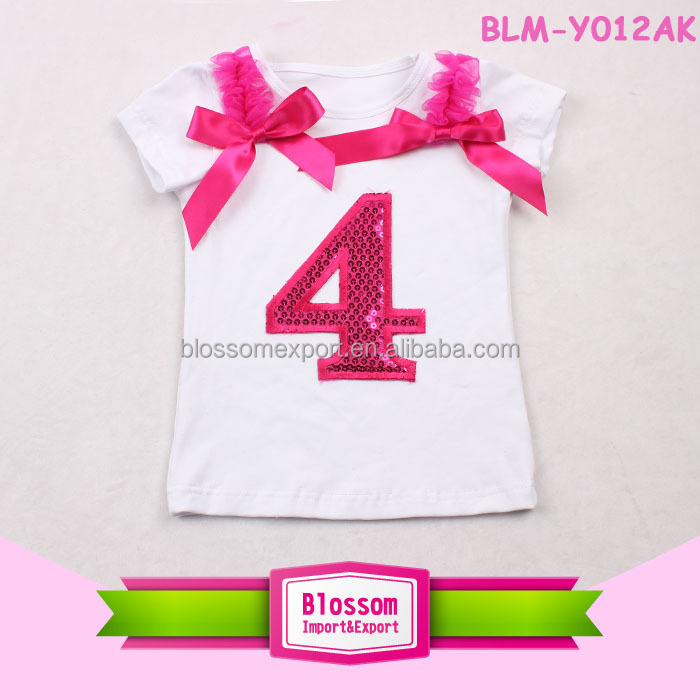 Summer Clothes Wholesale Sequin Number Kids T Shirt Cotton Baby Birthday Party T Shirts