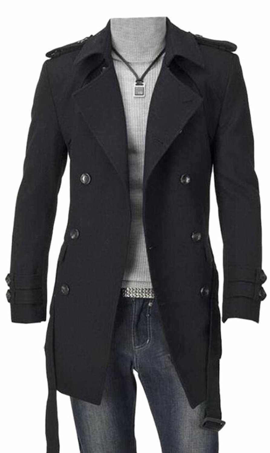 Yayu Mens Trim-Fit Winter Double-breasted Belted Trench Coat Outwear