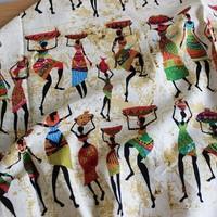 African Women Print Linen Cotton Fabric