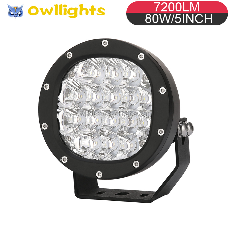 "5"" 80W 12v 24v DC 12 Volt Tractor LED Work Lights 5inch 80w Round LED Spotlight 4x4 for Truck Heavy Duty Machine"