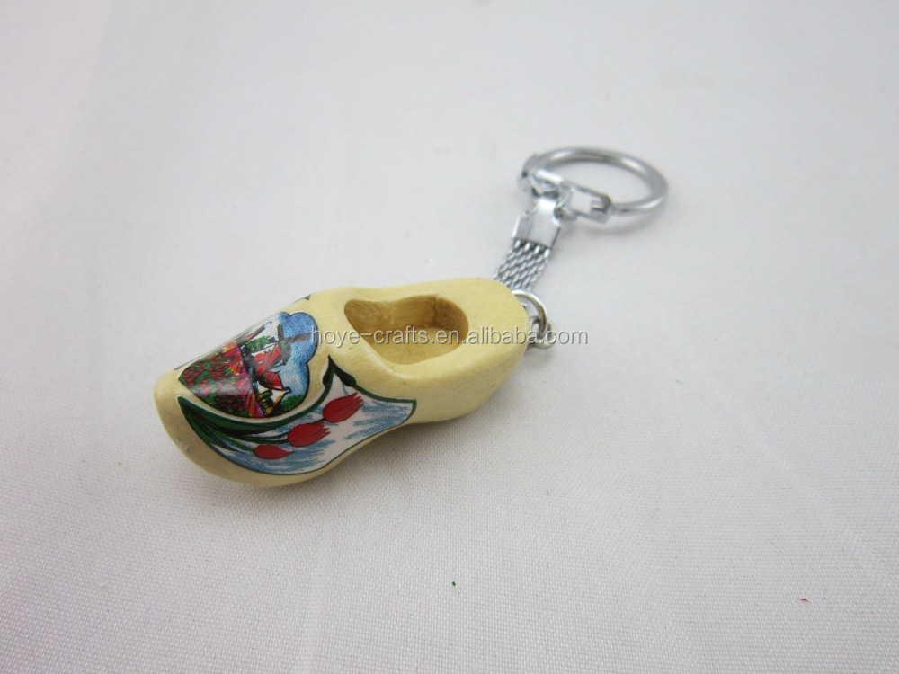 4cm dutch boutique small wooden shoes key chain pendant decorating the Christmas tree holland wooden shoes
