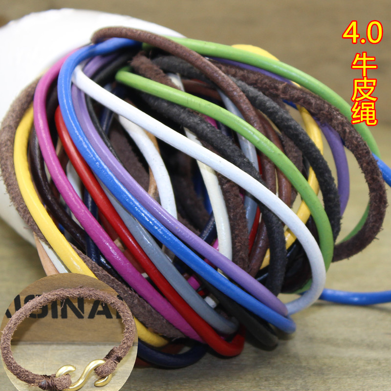 Handmade Band 4mm Genuine Round Leather Cord for DIY Jewelry Necklace Bracelet Making String