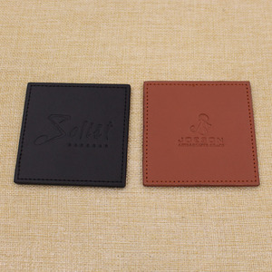Good quality square brown leather tea coaster / black pu cup mat for promotion