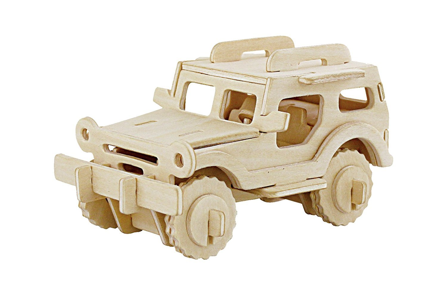 3D Wooden Model Toy Kit World Puzzle Build Car Kit Wooden 3d Puzzles Build Car Kit Kids Wooden Puzzle Car Model Kits 38-pcs (Jeep)