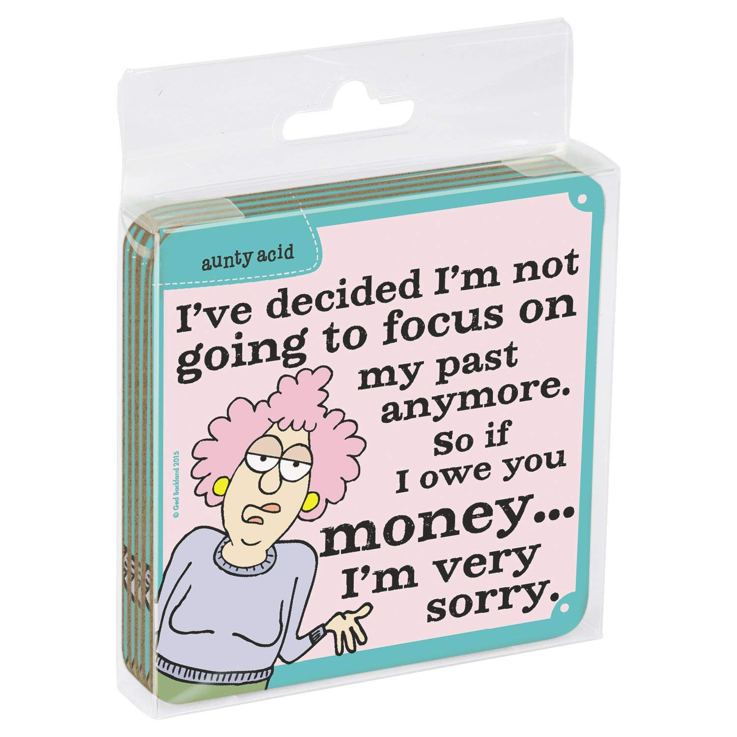 Tree-Free Greetings Set of 4 Cork-Backed Coasters EC96408 3.75 x 3.75 Inches Aunty Acid Owe Money