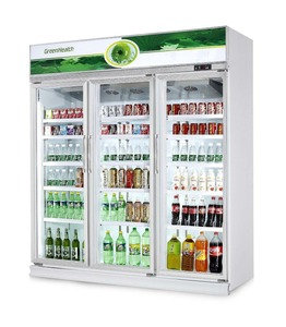 3 Glass Doors Commercial Displayed Refrigerator / Freezer for Hotel , Restaurant Showcase Cooler