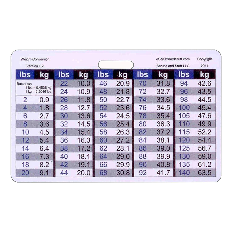 Buy Weight Conversion Chart General Range Horizontal Badge Id Card