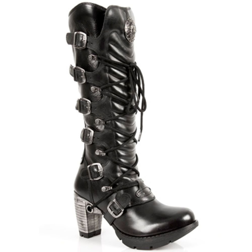 d8790940e8bf Get Quotations · New Rock TR004-S1 Ladies Black Leather Buckle Lace Knee  High Zip Boots