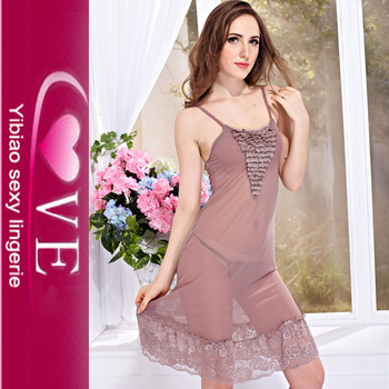 4d6aa5c7a Hot Sales Lingerie Girl Chiffon Pajamas Lace Chest Gown Transparent Sexy  Night Dress