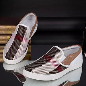 wholesale cheap designer first class cow leather lining mens canvas shoes from China