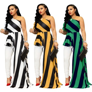 2019 Casual Plus size Backless Cold Shoulder Maxi Dress Long one Piece Clothing Summer Women Striped Dresses#T014