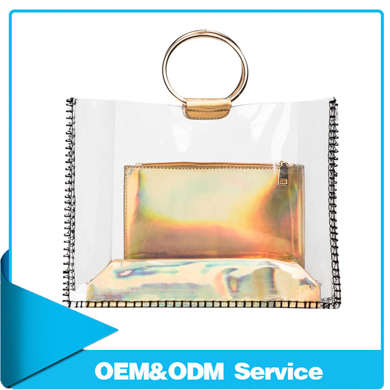 Top quality ladies handbag transparent jelly hit clear pvc tote bag sets for alibaba co uk