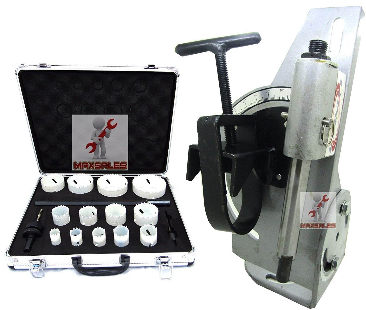 """9TRADING Tube & Pipe Notcher 60 Degree Notch Up To 2-1/8"""" Tubing & 18pcs Bi Hole Saw Kit,Free Tax, Delivered within 10 days"""