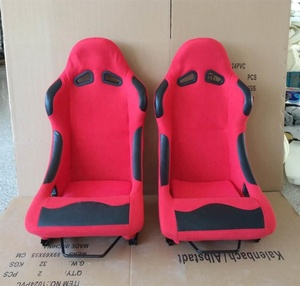 RED PVC FABRIC RACING SEAT SPORTS BUCKET SEAT+CUSHION WITH CAR SEAT RAILS JBR1014
