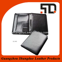 High Quality Promotional Leather Cover File Holder With Zipper