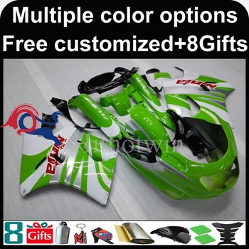 green white Body motorcycle cowl for Kawasaki ZX11R ZZR1100 92-01 92 93 94 95 96 97 ZZR1100 98 99 00 01 02 ABS Plastic Fairing