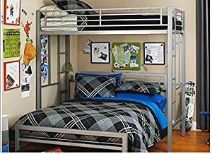 Twin Over Full Bunk Bed Kids Loft Beds Childrens Metal Frame Bunkbed Ladder Silver Black