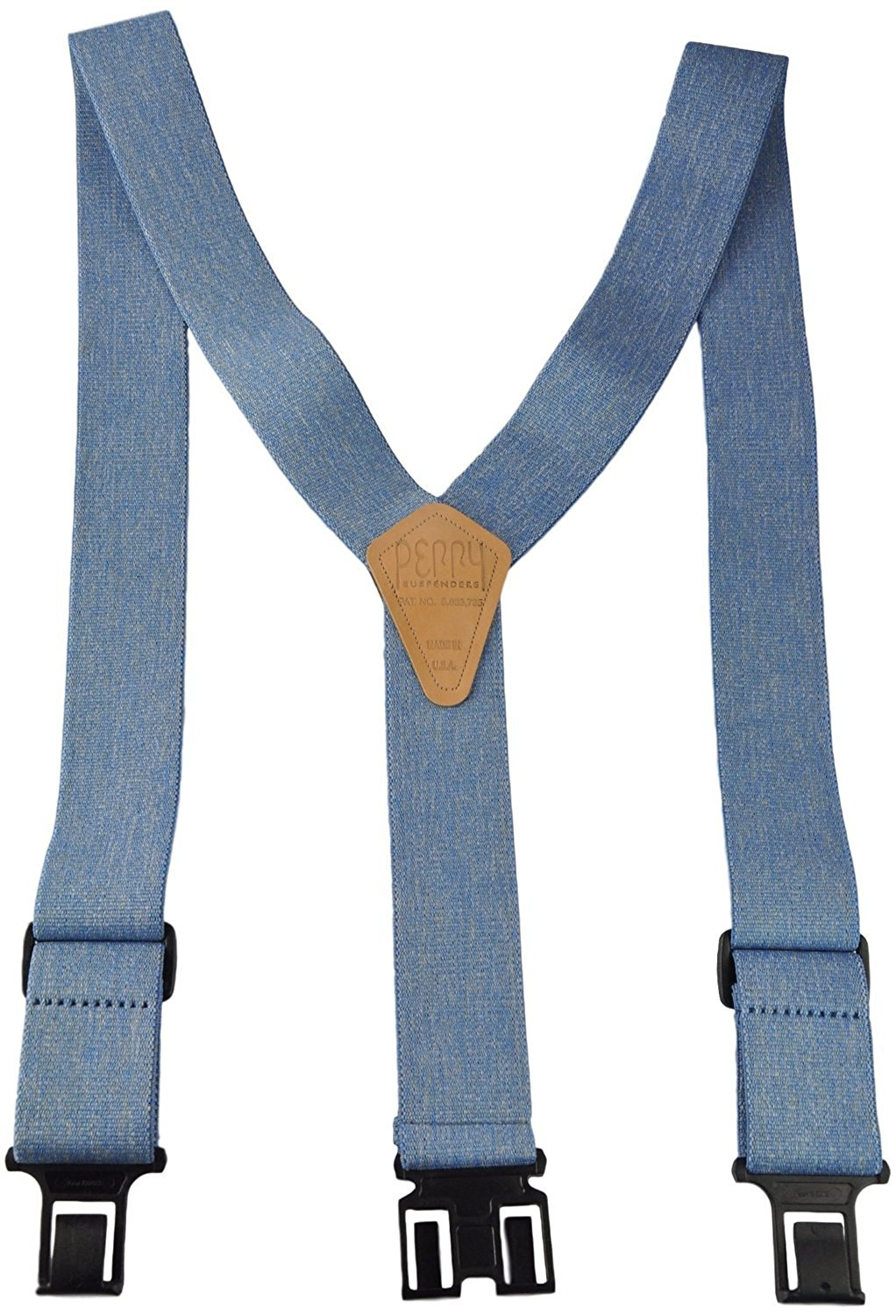 Perry Products SN200 Men's Clip-On 2-in Suspenders(Tall, Denim Blue)