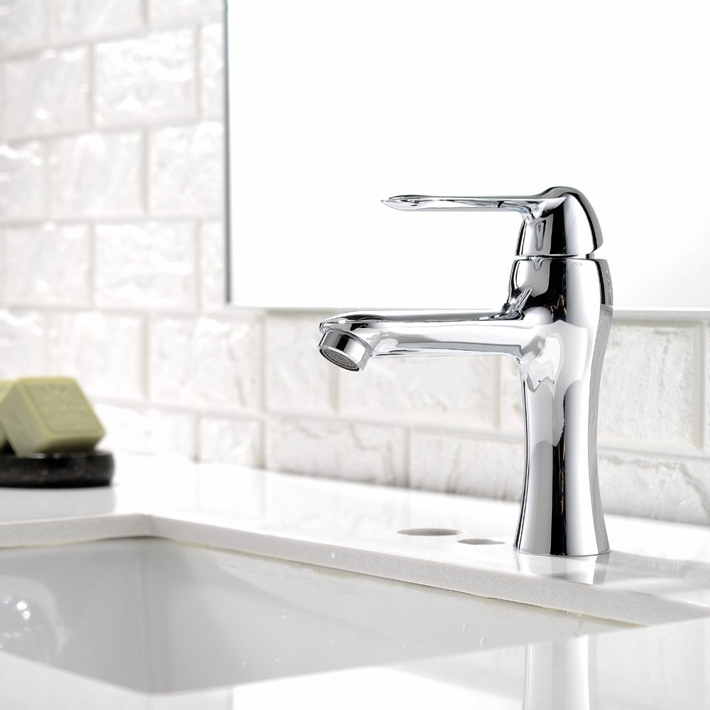 Modern Chrome Finished Stainless Steel Single Handle Lavatory Bathroom Faucet,Modern Solid Brass Bathroom Sink Faucet