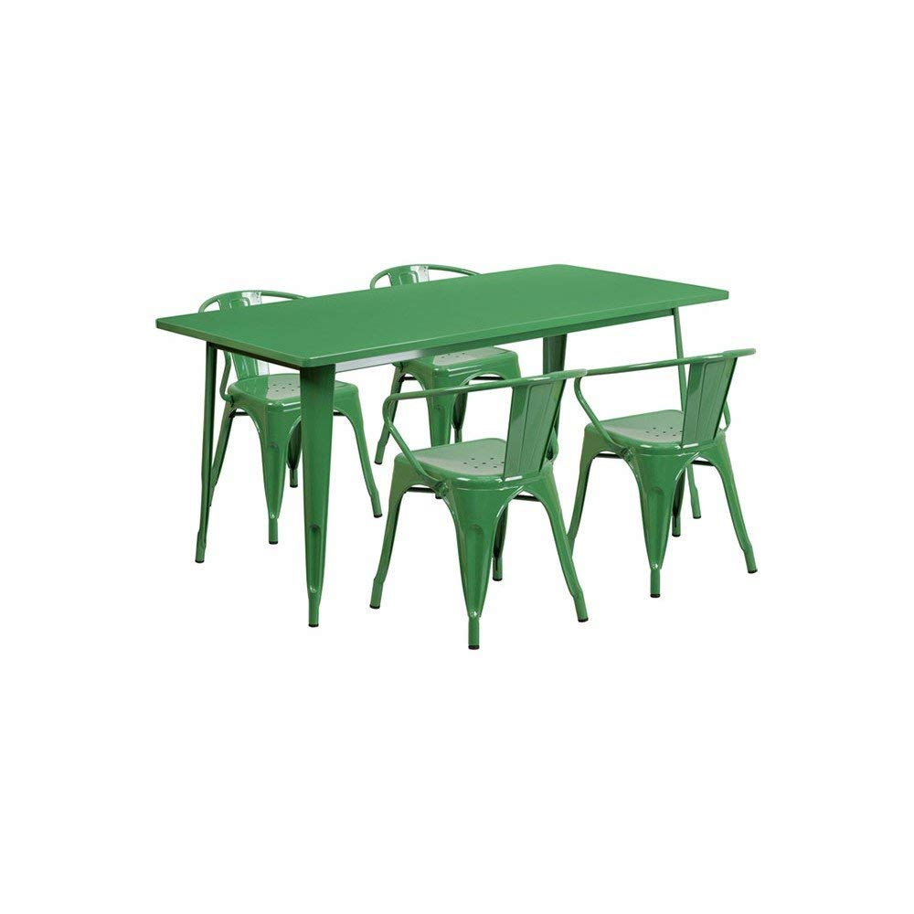 """Offex OFX-380691-FF 31.5"""" x 63"""" Rectangular Metal Indoor Table Set with 4 Arm Chairs - Green"""