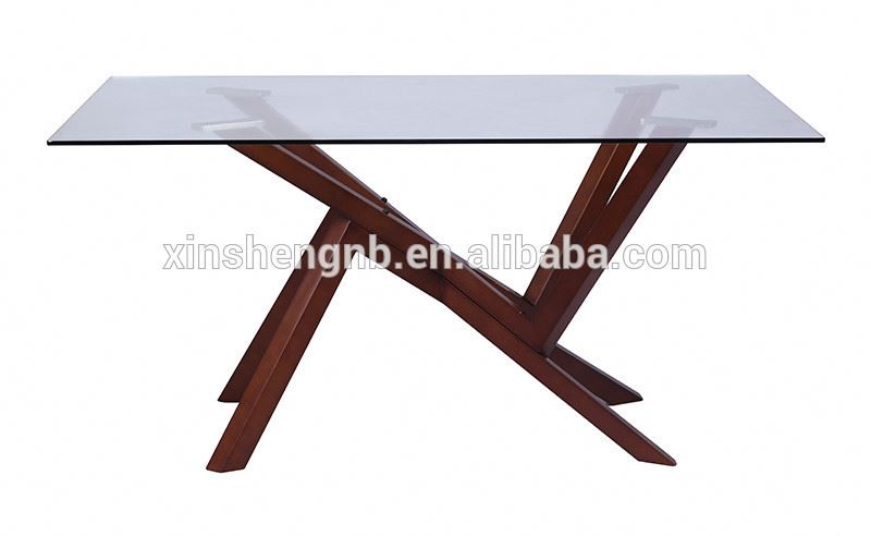 modern glass dining table with beech legs