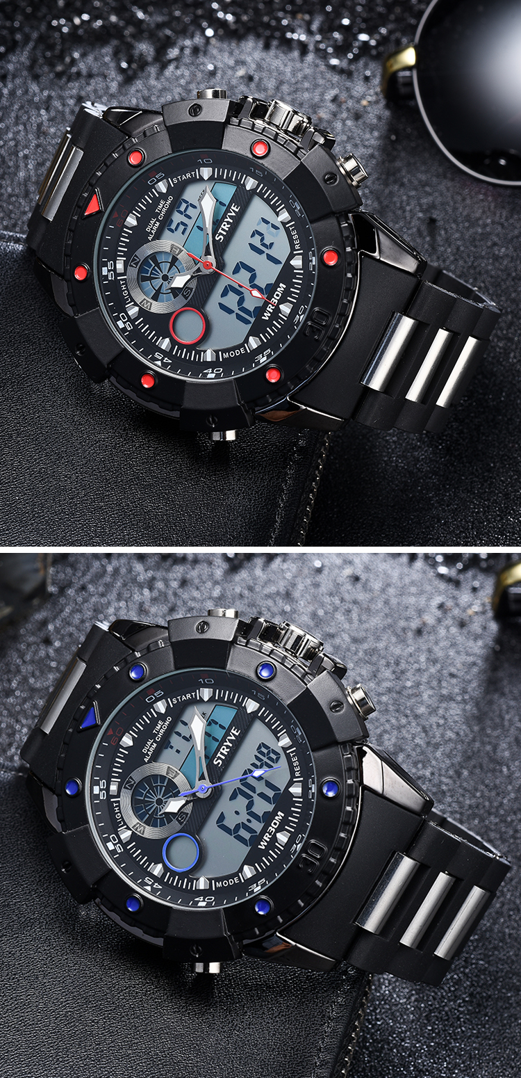 2019 Multifunction Sports Watches Stryve Brand Luxury Led Analog Clock Military Big Dial Dual Display Quartz Digital Men Watch