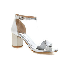 9ece58581a3 Sianie Tianie Patent PU Open Toe Woman Summer Shoes Silver Gold Pink Buckle  Strap Block High