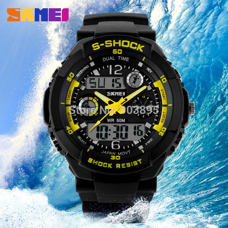 S анти-шок SKMEI роскошь марка мужчины военный спорт часы цифровой из светодиодов кварцевый наручные часы резина ремешок relogio masculino