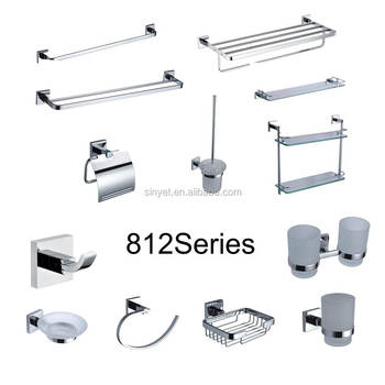 Moden Wall Mounted Chrome Plated Br Square Back Bathroom Ings Accessories Bath