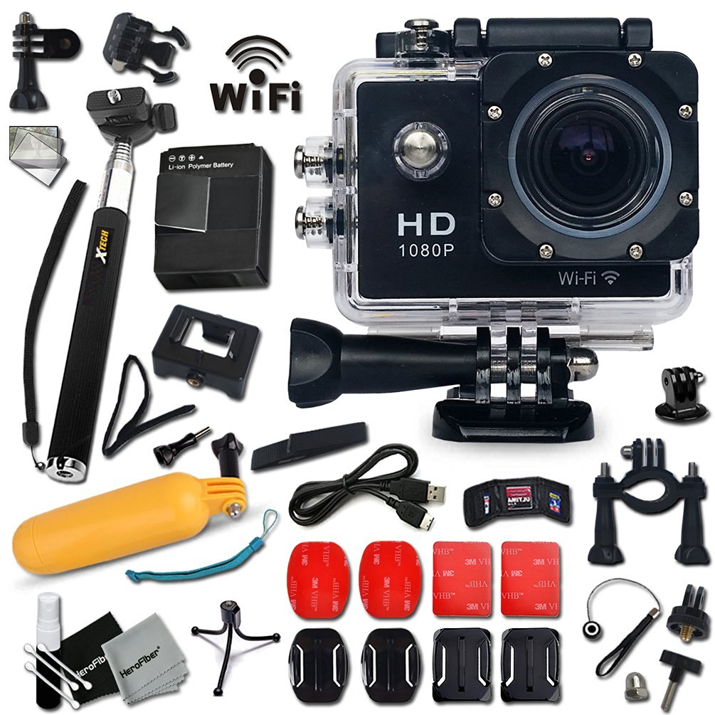 KoolCam AC300 HD 1080p H.264 Waterproof ACTION Camera / Camcorder for KIDS and Adults with a Super 170 degree Wide angle Lens KIT Includes: Handheld Extendable MONOPOD Pole + Hermetically Sealed Floating Bobber + Adjustable Bike Mount + Long Life Battery + USB Charging Cable + External Charger +