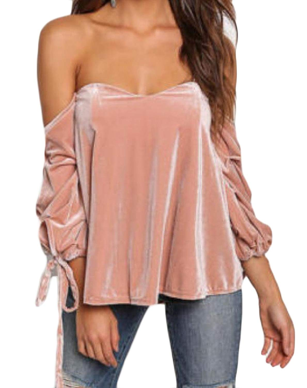 132613656d Get Quotations · Tootless-Women Sexy Tube Top Straps Gold Velvet Off  Shoulder Tunic Top