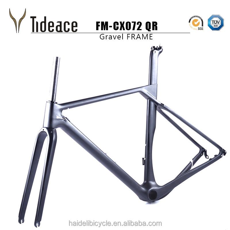 Carbon Fiber Toray Gravel Frame, 700*40C or 650B*2.1 inch Compatible Road Racing Bike Frames Mountain Bicycle Frames, Black